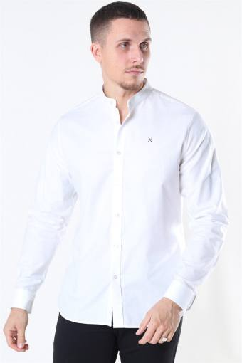 Clean Cut Oxford Stretch Mao L/S Hemd White