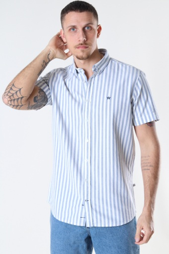 Johan Oxford  stripe 2 s/s shirt Light Blue