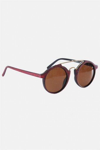 Fashion Round Club Trælook/Guld Sonnenbrille Brown Lens