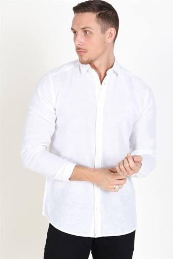 Caiden LS Solid Linen Hemd White