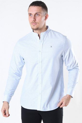 Clean Cut Oxford Stretch Mao Stripe L/S Hemd Light Blue