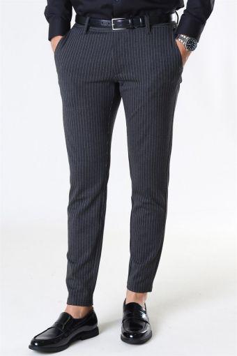 Mark Pants Stripe Dark Grey Melange