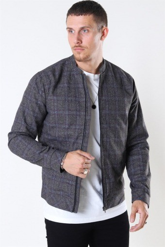 Tailored & Originals Shayan Bomber Jacke Med Grey Melange