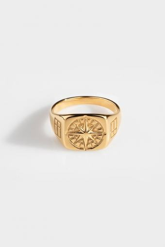 Compass SignatUhre Ring Gold