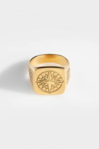 Oversize Compass Ring Gold