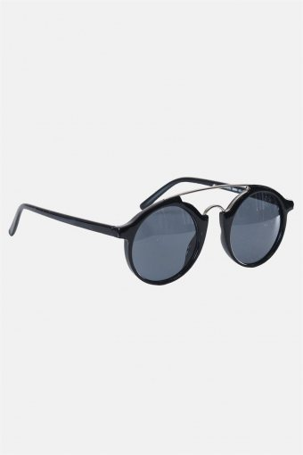 Fashion Round Club Sort/Sølv Sonnenbrille Grey Lens