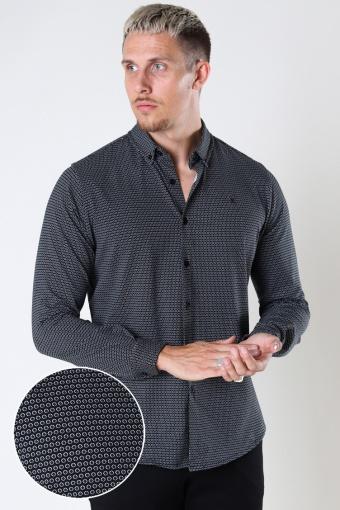 Hudson Stretch Hemd L/S Black Cube