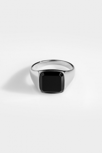 Black Onyx SignatUhre Ring Silver