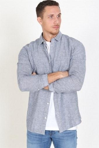 Caiden LS Solid Linen Hemd Dress Blues