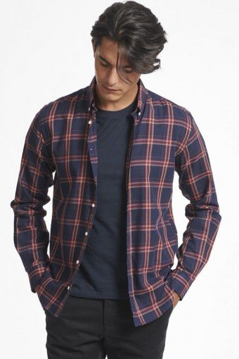 Boswell Hemd Dark Navy Check