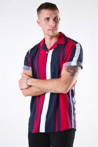 Vilas S/S Reverse Viscose Hemd Persian Red Stripes