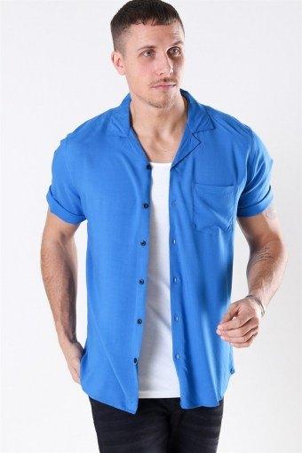 Silo Solid Viskose Hemd S/S Baleine Blue