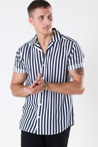 Wayne Striped Viscose Hemd Dress Blues
