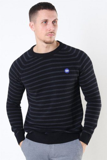 Liam Recycled Cotton Striped Stricken Black/Charcoal