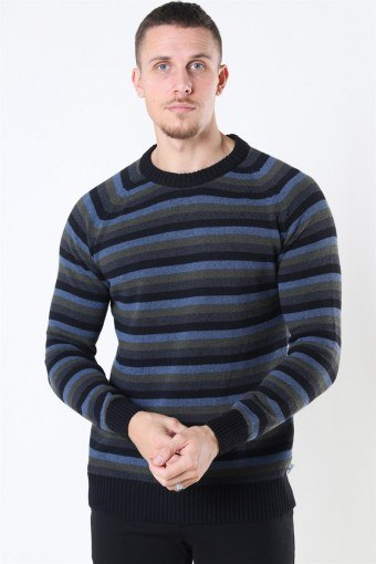 Liam Crew Multi Stripe Stricken Black/Army