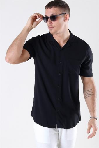 Silo Solid Viscose Hemd Black