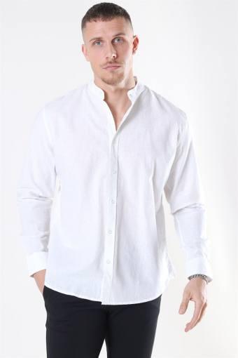 Clean Cut Cotton Linen Mao Hemd White