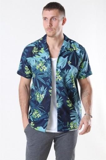 Cuba Exotic S/S Hemd Blue Flower
