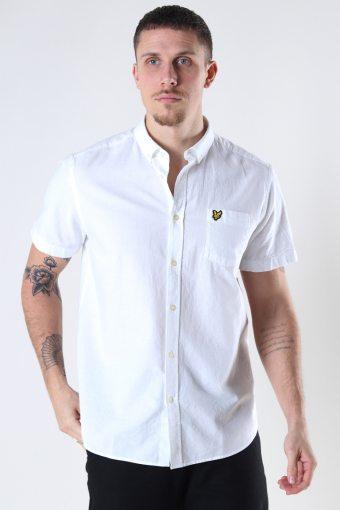 Short Sleeve Light Weight Slub Oxford Shirt White