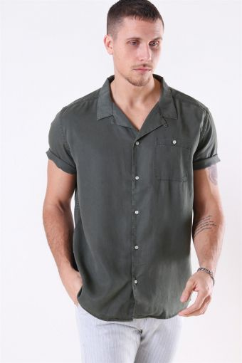 Laurent Tencel SS Hemd Dark Green