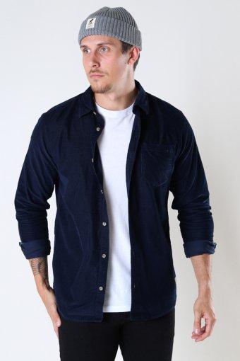 JJKENDRICK CORD Hemd LS Navy Blazer /SLIM