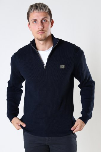 Basic Organic 1/2 Zip Knit Navy