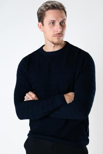 Folke Cotton crew neck knit Navy