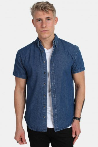 Johan Denim Hemd S/S Dark Blue