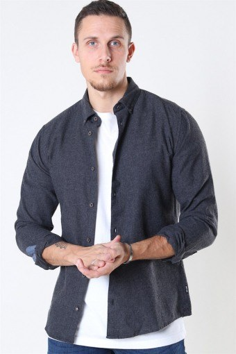 Edin LS Flannel Twill Hemd Black