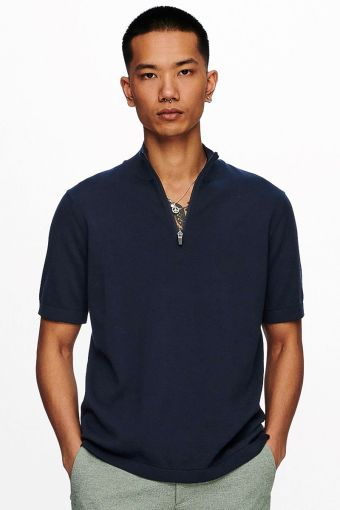 Onsavi Life 12 Ss Quarter Zip Knit D. Navy