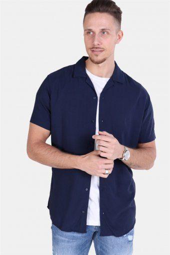 Randy Resort Hemd S/S Solid Navy Blazer