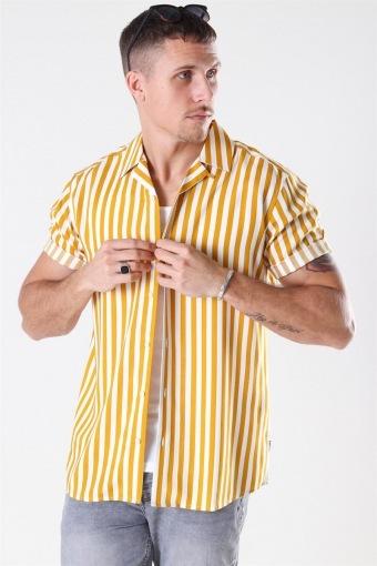 Wayne Striped Viscose Hemd Golden Spice