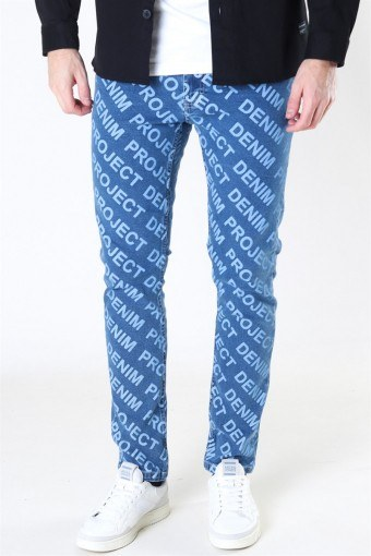 Mr. Red AOP Jeans Medium Blue
