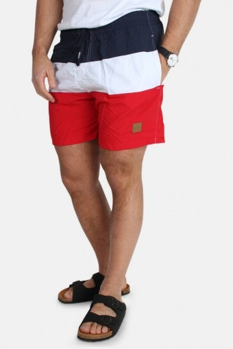 Color Block Badehose Firered/Navy/white