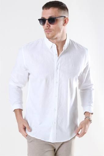 Clean Cut Cotton Linen Hemd White