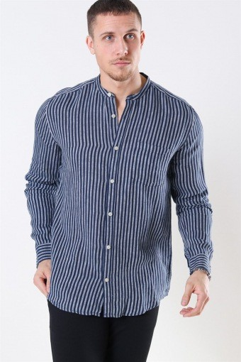 Luke LS Linen Mandarine Hemd Dress Blues/White Stripes