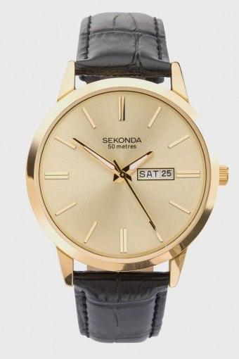 1838 Classic Leather Uhr Black/Gold
