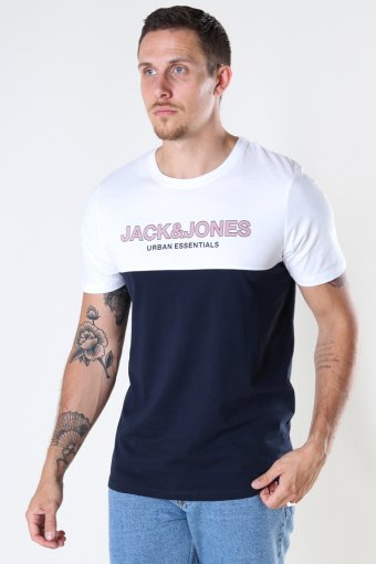 JJEURBAN BLOCKING TEE SS O-NECK NOOS White Red Dhalia-Navy Print/Slim Fit