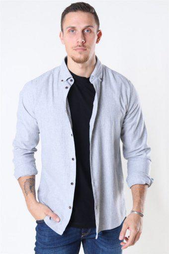 Edin LS Flannel Twill Hemd Medium Grey Melange