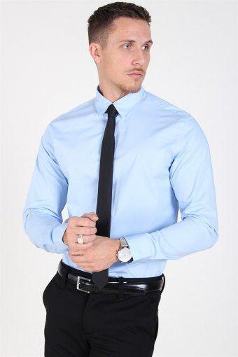 Slim-Michigan LS Hemd Light Blue