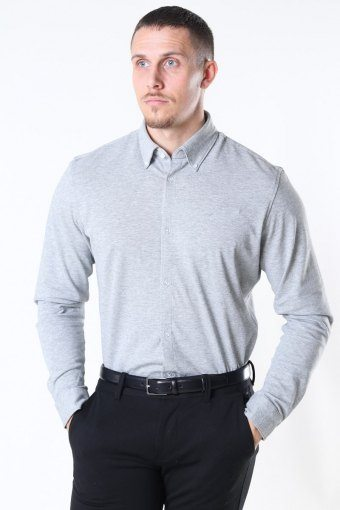 Slim Oliver Knit Flex Hemd LS Medium Grey Melange