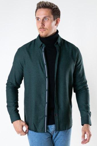 Johan Herringbone flannel Hemd Bottle Green