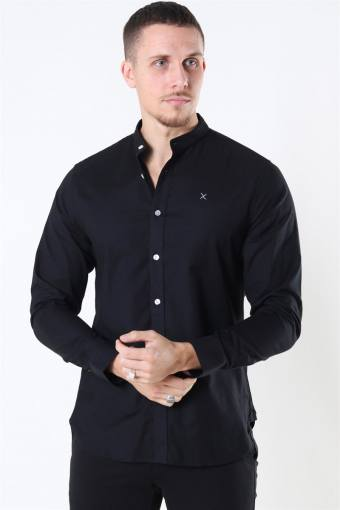 Clean Cut Oxford Stretch Mao L/S Hemd Black