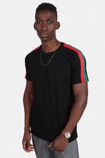 Uhrban Classic TB2059 Stripe Shoulder Raglan T-shirt Black/Firered/Green