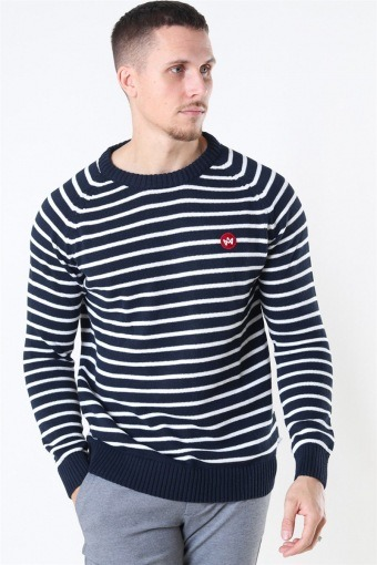Liam Recycled Cotton Striped Stricken Navy/White