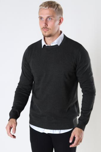 JJEBASIC KNIT CREW NECK NOOS Forest Night twisted with black