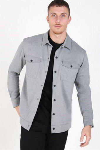 Comfort Stretch Overshirt Light Grey Melange