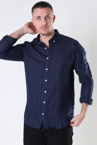 Johan Linen stripe shirt Navy