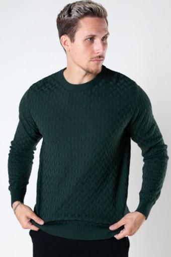 Bertil Cotton crew neck knit Bottle Green