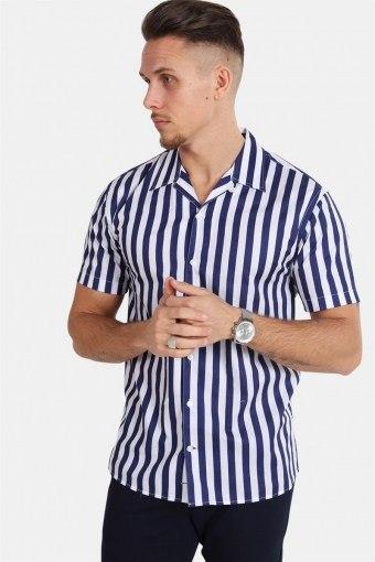 Cuba S/S Gr.78 Hemd White/Dark Blue